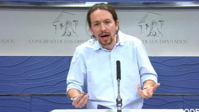 Pablo Iglesias, en una rueda de prensa en el Congreso.