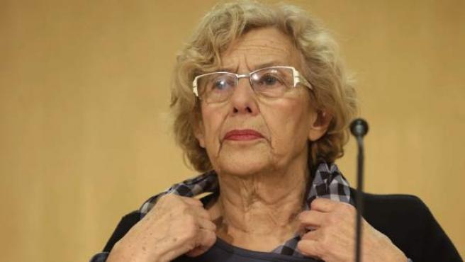La alcaldesa de Madrid, Manuela Carmena, durante una comparecencia de prensa.
