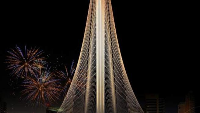 Fotografía facilitada por Santiago Calatrava del diseño del nuevo rascacielos que el Gobierno de Emiratos Árabes le ha pedido al arquitecto valenciano, entre varias propuestas internacionales, para que diseñe el nuevo rascacielos de la ciudad de Dubai, la Torre Dubai Creek