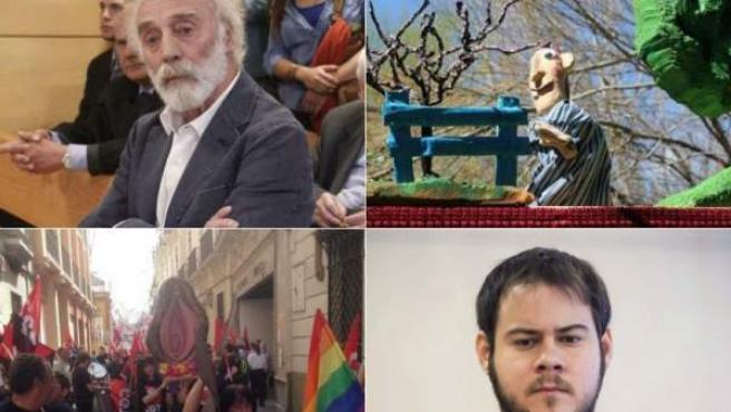 """De izquierda a derecha: el cantautor Javier Krahe, la obra de títeres 'La bruja y don Cristóbal', la """"Procesión del santísimo coño insumiso"""" y el rapero Pablo Hasél."""