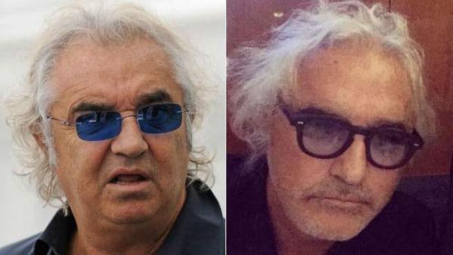 A la izquierda una imagen de Flavio Briatore en diciembre de 2014, a la derecha su nueva imagen de febrero de 2016.