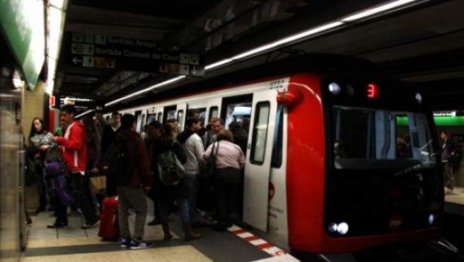 Un convoy de metro en Barcelona.