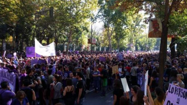 Imagen de archivo publicada en Twitter por Ahora Madrid de la multitudinaria manifestación contra la violencia machista que ha abarrotado las calles de Madrid.