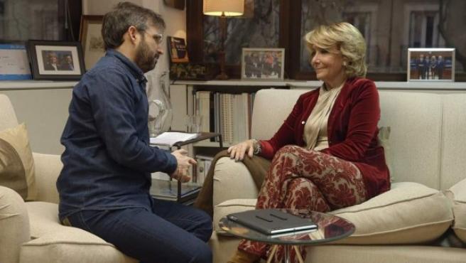Jordi Évole y Esperanza Aguirre en 'Salvados'.