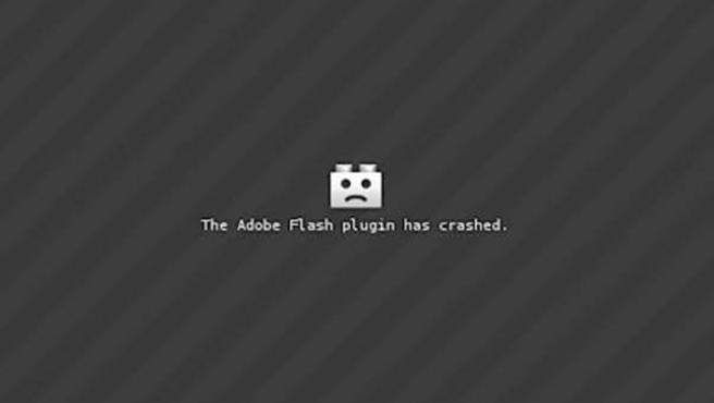 Mensaje de error de Adobe Flash Player.