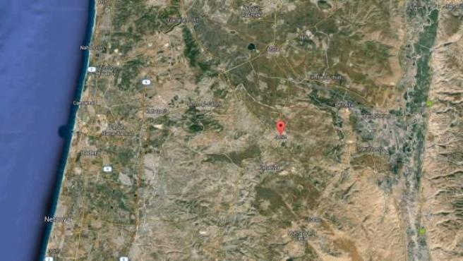 Vista vía satélite de la ciudad de Yenín, en Cisjordania.