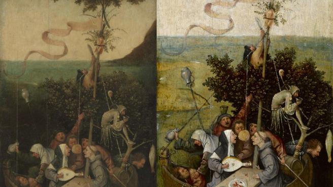 'La nave de los locos', del Bosco. Antes (izquierda) y después de la restauración