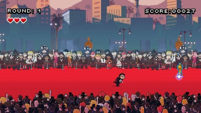 Captura del juego online Leo's Red Carpet Rampage, en el que el actor Leonardo DiCaprio intenta por todos los medios atrapar su primera estatuilla dorada.