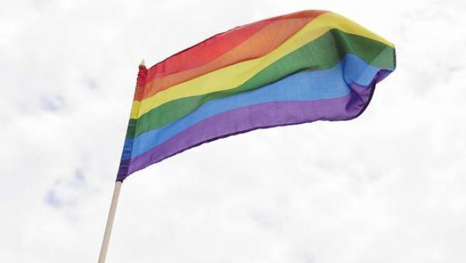 Un hombre sostiene una bandera LGTB.