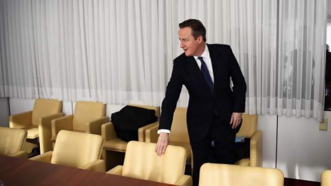 El primer ministro británico, David Cameron, durante las reuniones.