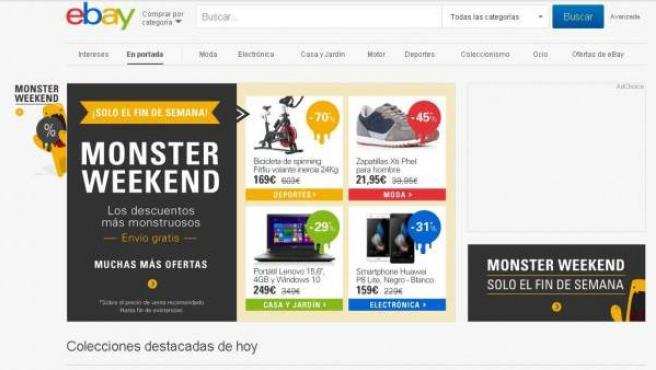 Captura de pantalla de la página de inicio del portal de compraventa Ebay.