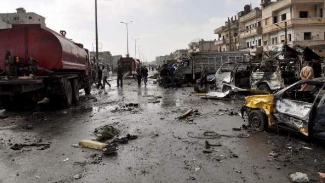 Imagen del atentado en la ciudad siria de Homs.
