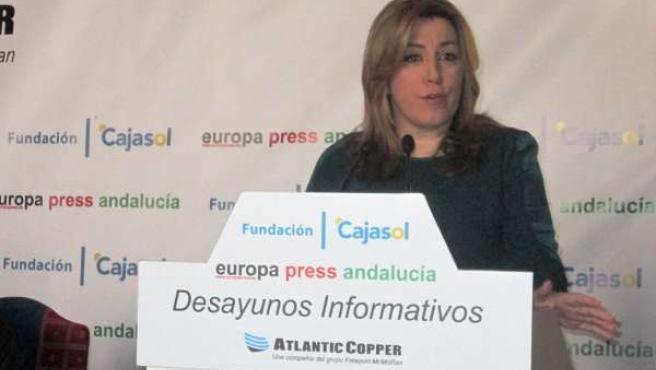 Susana Díaz, en la presentación de los Desayunos de Europa Press