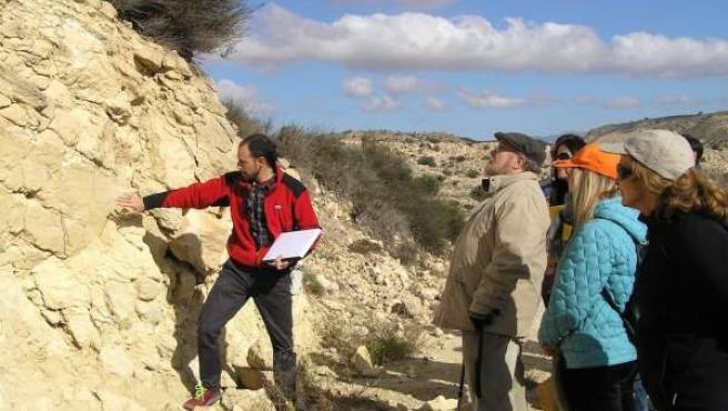 Geólogo trabajando