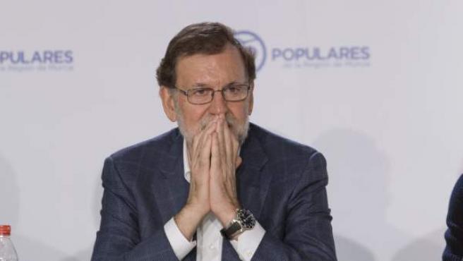 El jefe del Ejecutivo en funciones y líder del PP, Mariano Rajoy, durante la Junta Directiva de su partido en la Región de Murcia.