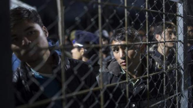 Refugiados afganos y sirios esperan para cruzar la frontera entre Macedonia y Grecia, cerca de Gevgelija.