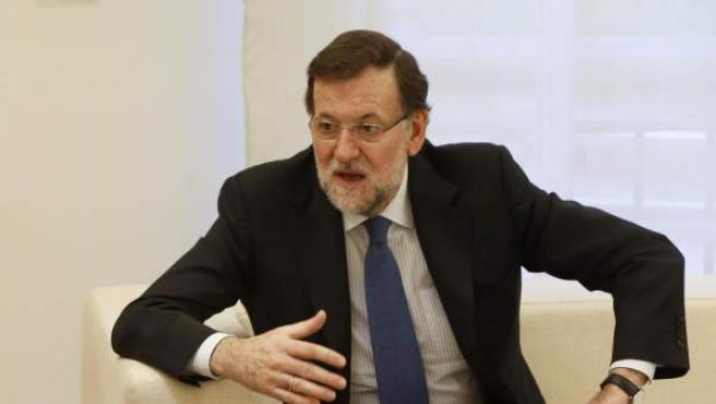 El jefe del Gobierno, Mariano Rajoy, en una reunión en el Palacio de la Moncloa.