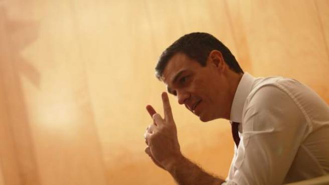El secretario general del PSOE y candidato a la presidencia del Gobierno, Pedro Sánchez, en la sede del grupo parlamentario socialista.