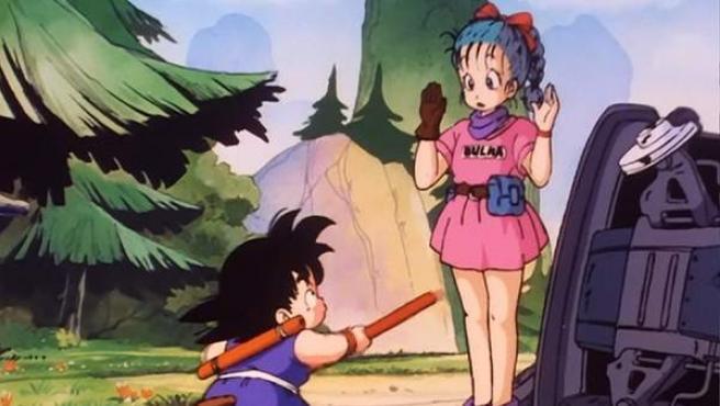 Encuentro de Goku y Bulma en el primer capítulo de 'Dragon Ball'.