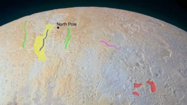 Imagen difundida por la NASA en la que se aprecian los cañones helados de su polo norte.