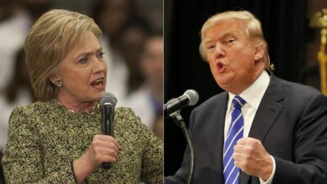 La precandidata demócrata, Hillary Clinton, y el magnate y precandidato republicano, Donald Trump.