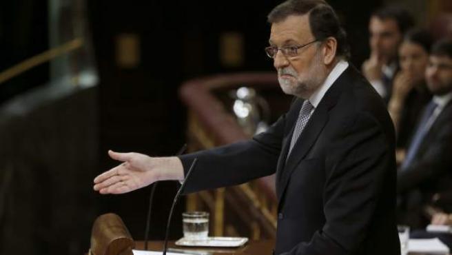 El presidente del Gobierno en funciones, Mariano Rajoy, durante su intervención en el Congreso de los Diputados.