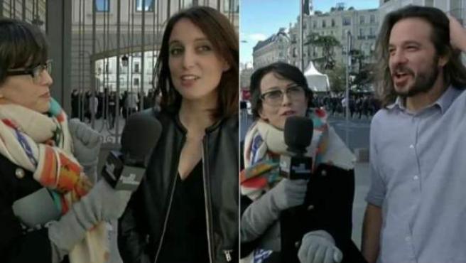 Thais Villas con la diputada del PP Andrea Levy (i) y con el diputado de Podemos Miguel Vila (d).