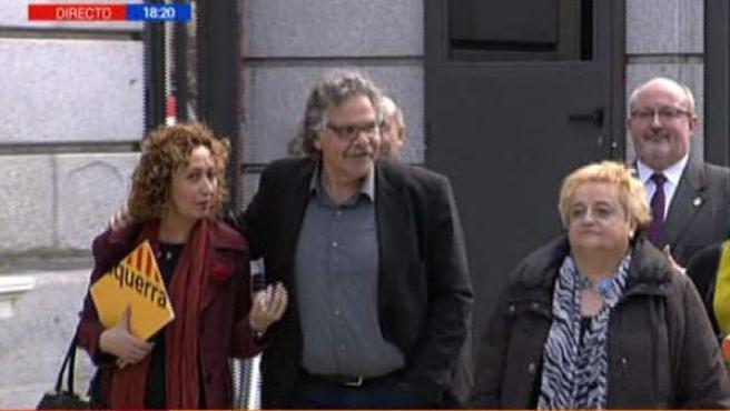 Los diputados de ERC, con Joan Tardà a la cabeza, a su llegada al Congreso el viernes.