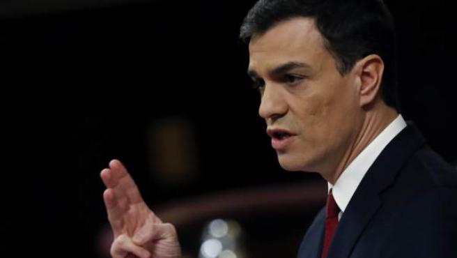 El candidato del PSOE a presidente del Gobierno, Pedro Sánchez, en el segundo debate de investidura.