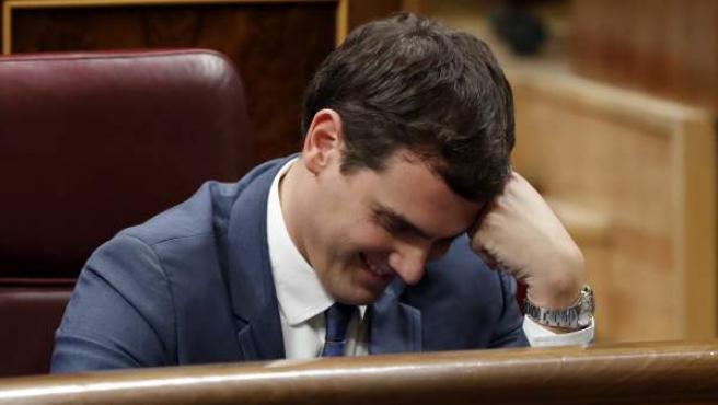 El líder de Ciudadanos, Albert Rivera, durante la segunda votación de la investidura.