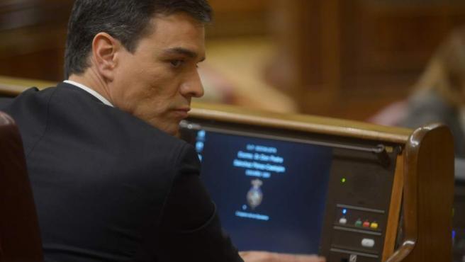 Pedro Sánchez, candidato del PSOE, en un momento de la segunda sesión de investidura.