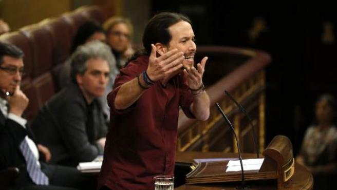 El líder de Podemos, Pablo Iglesias, durante su intervención en la segunda votación de investidura del candidato socialista, Pedro Sánchez.