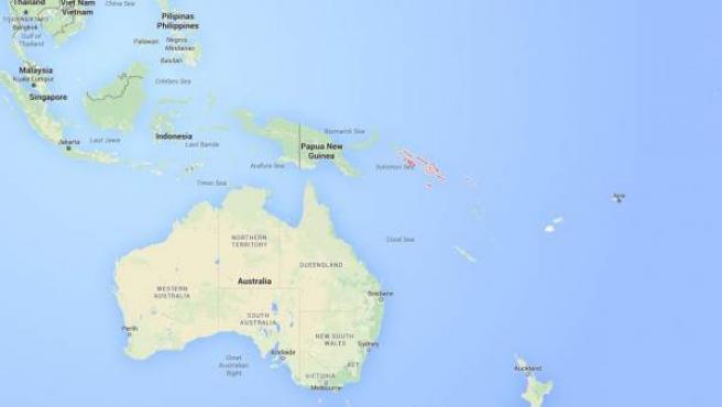 Ubicación de las Islas Salomón, en el Pacífico Sur.