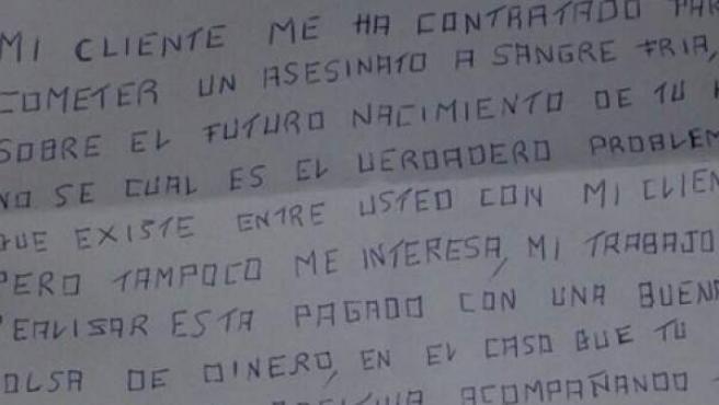 Tuit del Secretario General del PSOE en Salamanca que reproduce las amenazas