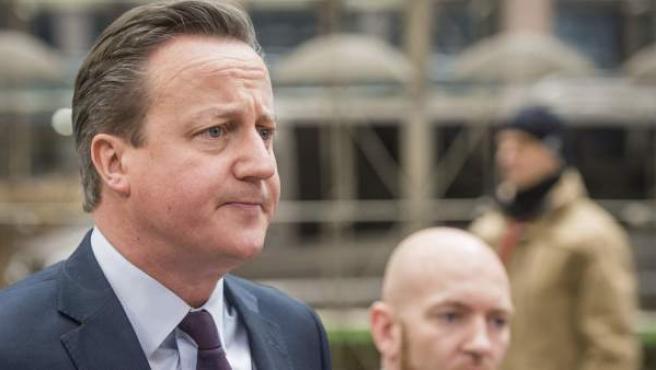 El primer ministro británico, David Cameron, a su llegada a la reunión especial con Turquía en Bruselas (Bélgica).