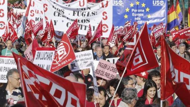 Manifestación contra los recortes y la austeridad que ha convocado la Confederación Europea de Sindicatos en varias ciudades españolas y europeas.