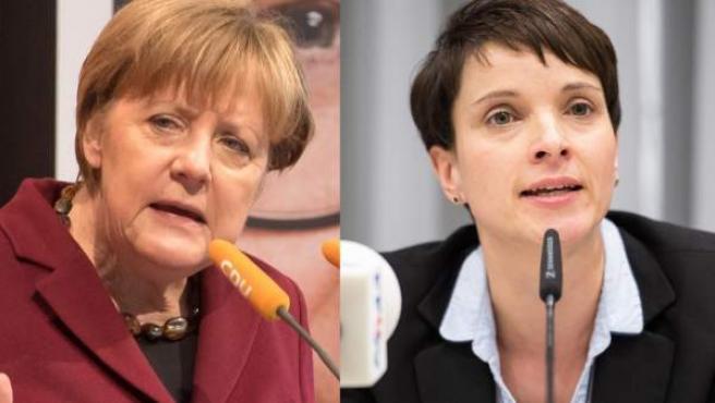 Angela Merkel y la presidenta de AfD, Frauke Petry.