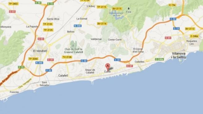 Localización en un mapa de Cunit (Tarragona).