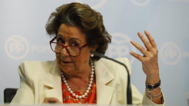 La senadora, Rita Barberá, durante su primera rueda de prensa desde que se produjeron las detenciones por el denominado caso Imelsa.