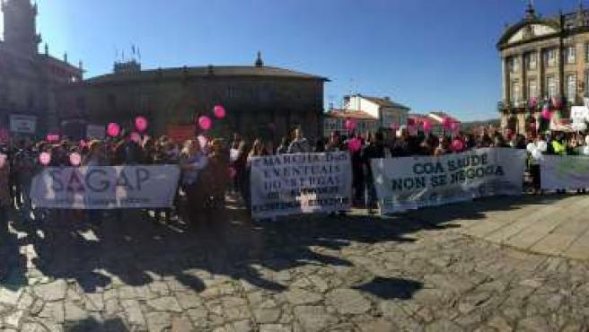 Protesta de trabajadores eventuales del Sergas