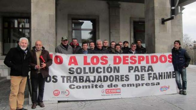 Concentración trabajadores de Fahime en Oviedo