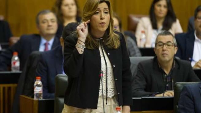 Susana Díaz responde en la sesión de control al gobierno del Parlamento andaluz