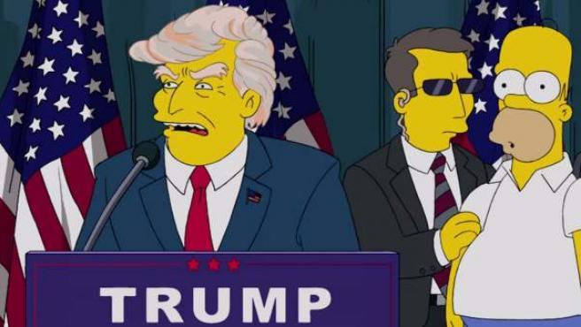 Escena de 'Los Simpsons' en la que presenta a Donald Trump como candidato a la Casa Blanca.