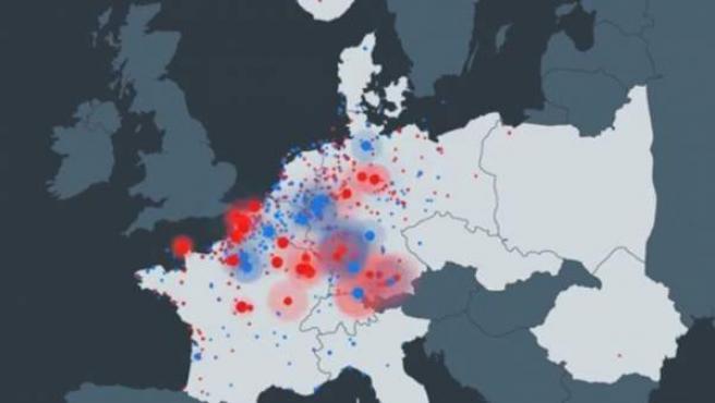 Animación que muestra los bombardeos aliados contra la Alemania nazi en la Segunda Guerra Mundial.