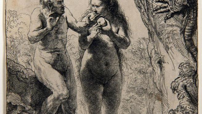 Grabado de Adán y Eva de Rembrandt