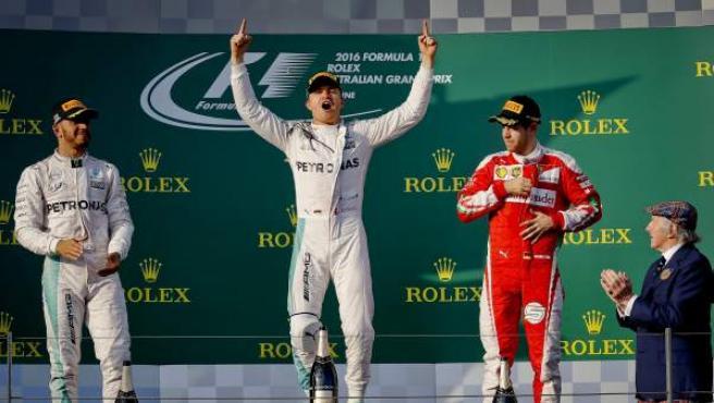 Nico Rosberg celebra su victoria en el GP de Australia de Fórmula 1.