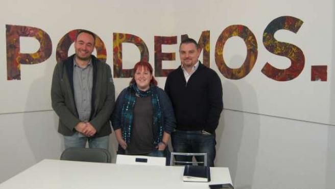 José Ramón Blanco, Verónica Ordóñez y Luis Salgado, de Podemos