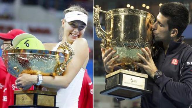 La rusa Maria Sharapova y el serbio Novak Djokovic, con los trofeos que los acreditan como campeones en Pekín.
