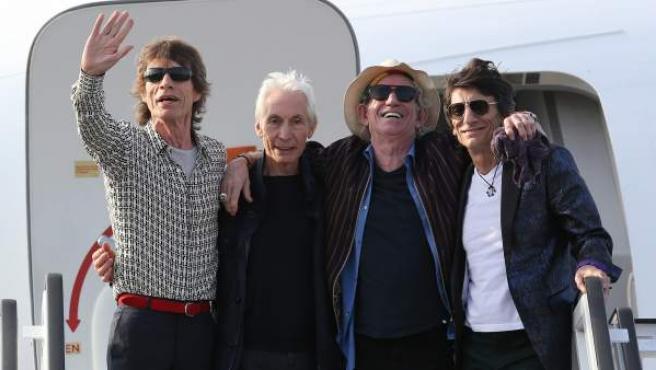 La banda británica de rock The Rolling Stones llega a La Habana (Cuba) en 2016
