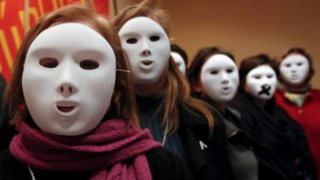 Varias mujeres durante una protesta contra la violencia machista.
